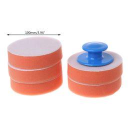 Foam wax pad online shopping - 6Pcs Set Car Wax Wash Polish Pad Sponge Cleaning Foam Kit Gripper Handle Car Styling H4GC
