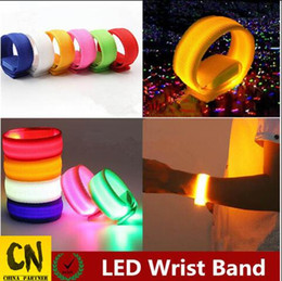 Band Belts UK - Nylon led wrist band hand toy glow belt light led wrist straps light led flashing night light colorful wrist band 22cm Party toys