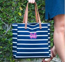 $enCountryForm.capitalKeyWord Australia - 30pcs 2018 New Customed Women Female Canvas Stripes Printing Zipper Beach Shoulder Bag 4 Colors Large Capacity Handbag Outdoor