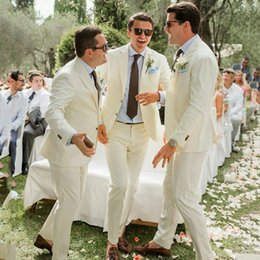 ivory linen suit UK - Groomsmen Outfits Ivory Linen Men Suits for Wedding Groom Tuxedo Notched Lapel Prom Party 2Piece Slim Fit Trajes de hombre Terno Masculino