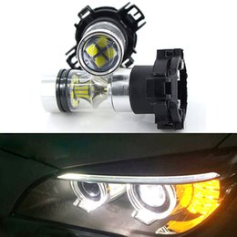 Wholesale 2pcs Amber Yellow White 20SMD 100w PY24W 5200s LED Bulbs w  Reflector Mirror Design Front Turn Signal Lights
