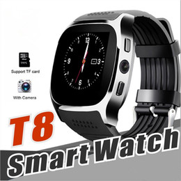 Sync Smart watcheS online shopping - T8 Bluetooth Smart Watch Pedometer SIM TF Card With Camera Sync Call Message Smartwatch For Samsung Android Smartphone