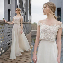Two piece boho wedding dress online shopping - 2019 Sexy Summer Two Piece BOHO Wedding Dresses Lace Appliques Bodice Illusion Neckline Chiffon A Line Romantic Bohemian Bridal Dresses