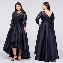 $enCountryForm.capitalKeyWord NZ - Black Plus Size High Low Formal Dresses With Half Sleeves Sheer Jewel Neck Lace Evening Gowns A-Line Cheap Short Prom Dress