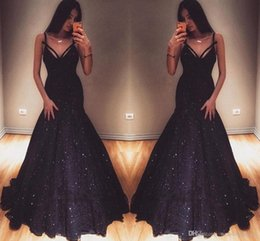 Wholesale New Elegant V Neck Mermaid Evening Gowns Sequins Prom Dresses On Sale Special Occasion Dresses Sexy Maid Of Honor Dresses Evening Wear