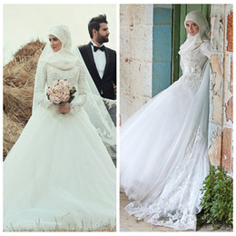 $enCountryForm.capitalKeyWord Australia - High Neck Long Sleeves Muslim A-Line Wedding Dresses 2019 Middle East Long Beaded Vestidos De Mariee Bridal Gowns Custom Modest Marriage