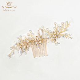 Bridal Hair Accessories Gold Australia - Fashion Jewelry Jewelry Fashion Wedding Handmade Crystal Shinny Hair Combs Gold Bridal Headpiece Brides Hair Accessories