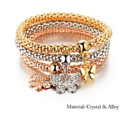 $enCountryForm.capitalKeyWord Australia - Butterfly Charm Bracelets Bangle Sets 3PCS Elastic Bracelet Rose Gold Silver Popcorn Chain Lock Crown Skull Pendant Bangle Jewelry for Women