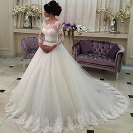 images brooch flowers Australia - Plus Size Wedding Dresses Wedding Dresses A Line Bateau Neck Bridal Dresses Bateau Long Sleeves Lace Vestidos de novia