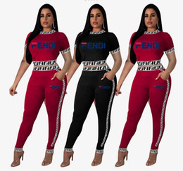 $enCountryForm.capitalKeyWord NZ - European and American Sell well fashion women two piece set Sexy women's clothing block box logo F Russian alphabet ribbon suit Two designer