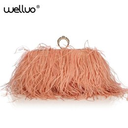 knuckle clutches NZ - Designer Satin Ostrich Fur Feather Clutch Famous Brand Women Clutch Knuckle Rings Dinner Evening Bag Chain Purse Handbags Xa567b Y190627