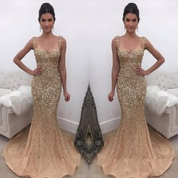 crystal champagne Australia - Luxury Sparkly Elegant Straps Crystal Mermaid Prom Dresses 2019 New Arrival champagne Gold Evening Dress Online Formal Wear