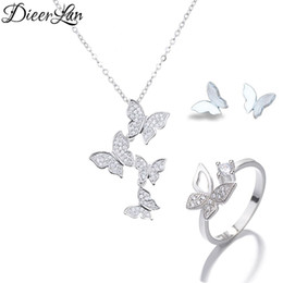 silver butterfly necklace earring set UK - DIEERLAN Boho Rhinestone Jewelry Sets 925 Sterling Silver Long Chain Butterfly Earrings Necklaces Rings for Lady Wedding Bridal