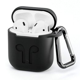 Bluetooth Toys Australia - Silicone Case for Airpods Earphone wireless Bluetooth headset protective sleeve Cover Accessories with Carabiner Anti-lost