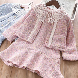 $enCountryForm.capitalKeyWord Australia - Girls Set Plaid Christmas Long Sleeve Dress + Lace Collar Cardigan for 2019 Autumn Winter Children Outfits 2 pcs CC-569