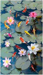 Pond Wall Stickers Australia - 3D photo customized mural wallpaper PVC Self-adhesive waterproof flooring Wall Sticker Lotus carp koi pond lotus pond 3D floor painting