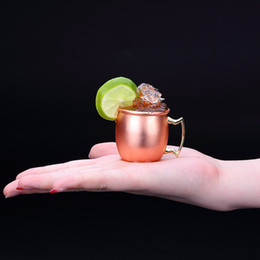 Wholesale 2oz Copper Mug Stainless Steel Wine Beer Cup Moscow Mule Mug Rose Gold Cocktail Wine Glasses Hammered Copper Plated Drinkware VT1256