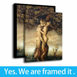 Love Framed Print Australia - Trees Painting Wall Art Eternal Love Home Decoration Print on Canvas Framed Art - Ready To Hang - Support Customization