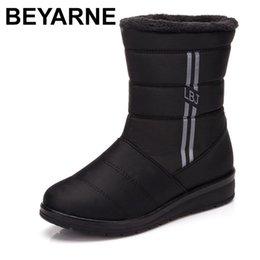$enCountryForm.capitalKeyWord Australia - BEYARNEWaterproof Women Winter Boots FemaleShoes Mid-Calf HighDown Boots Ladies Warm Snow Bootie Wedge Rubber Plush Insole Bota
