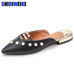 $enCountryForm.capitalKeyWord NZ - Dress Shoes 2019 Women Summer 2.5cm High Heels Glitter Sandals Lady Bling Mules Slingback Pearl Female Footwear Black Beige Bridal