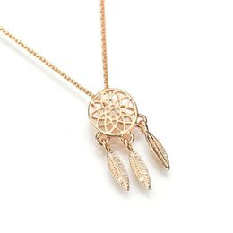 Pendants Strings Australia - New Fashion Dreamcatcher Series Copper Casting Exquisite Hollow Feather Necklace Pendant Necklace N512