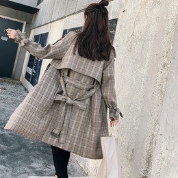 Coating Thickness Australia - Ailegogo New Plaid Cotton Coat Casual Loose Fit OL Suspenders Epaulet Belt Jacket Outwear Female Double Breasted Thickness Tops