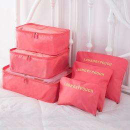 Types Set Clothes Australia - 6pcs set Travel Storage Bags Waterproof Portable Men Women Luggage Clothes Cosmetic Sundries Organizer Cube Bags Underwear Bra Pouch