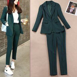 $enCountryForm.capitalKeyWord Australia - Spring and Summer New Korean Fashion Casual Suit Female Solid Color British Professional Suit Dark Green Jacket Two-piece Set