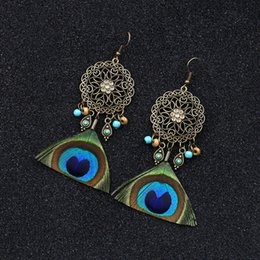earrings peacock feathers UK - Retro Fashion Palace Style New Accessories Natural Peacock Feather Earrings Hollow-out Sun Flower Long Drop Earrings Womens