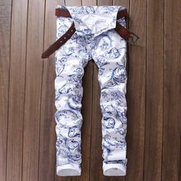 $enCountryForm.capitalKeyWord Australia - 2019 New Men Jeans 3D Pattern Printing Jeans Men's Skinny Pants Slim White Stretch Fashion Designer Denim Pants Size 29-38