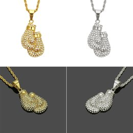 Discount mens silver chain designs - Boxing Gloves Design Pendant Necklace & Pendant Charm Free Rope Chain Gold Color Iced Cubic Zirconia Mens Hip hop Jewelr
