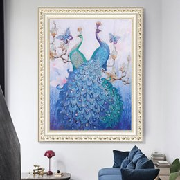 $enCountryForm.capitalKeyWord Australia - 1pcs DIY 5D Diamond Painting Kits Embroidery Butterfly Blue Peacock Cross Stitch kits living room mosaic pattern Home Decor 40*50cm