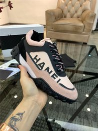 45123b7dcc2f6 19SS NIBChane1 18B Nylon Suede Lace Up Low Top Sneakers Kicks Shoes Pink  Black Sneakers Shoes with Original Box