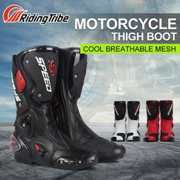 moto biker boots Australia - PRO-BIKER Mid-Calf Leather Motorcycle Boots SPEED Moto Racing Motocross Motorbike Riding Shoes botas Men Black White Red