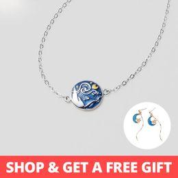 Painting Wood Jewelry Australia - Thaya Van Gogh Enamel Cloisonne Plated Bracelet Star Moon Night Oil Painting S925 Silver Bracelet Jewelry For Women Gift J190611