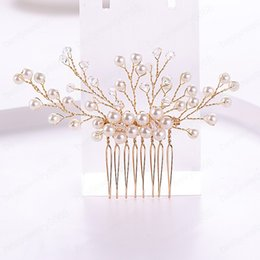 pearl floral wedding hair combs Australia - Simple Pearl Crystal Charm Floral Bridal Hair Combs Women Noiva Hairpins Headpiece Tiara Head Jewelry Wedding Bride Accessories
