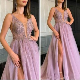 Green draped dress online shopping - Lilace Beaded Crystals Arabic Prom Dresses Deep V neck Sexy Formal Evening Dresses High Split Bridesmaid Pageant Gowns