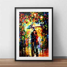 Kiss Picture Painted Australia - Kiss In The Park Wall Art Canvas Poster And Print Canvas Painting Decorative Picture For Office Living Room Home Decor Artwork