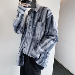 loose shirt tie dye Australia - Autumn New Shirt Men's Fashion Retro Tie Dyed Printed Casual Shirt Man Streetwear Wild Loose Long-sleeved Male M-2XL