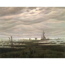 bay paintings NZ - Beautiful oil painting by Caspar David Friedrich Flat country shank at Bay of Greifswald art on canvas Hand painted