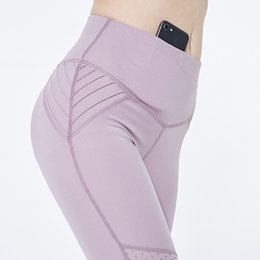 sexy pink yoga pants NZ - High Waist Yoga Pants With Pockets Breathable Sports Gym Yoga Leggings Sexy Mesh Track Pants Seamless Fitness Women Sportswear