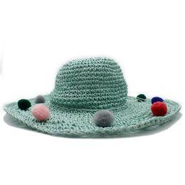ElEgant straws online shopping - 11CM Large Wide Brim Summer Women Raffia Straw Sun Hat For Elegant Lady Folding Seaside Bucket Hat With Flower Sunbonnet