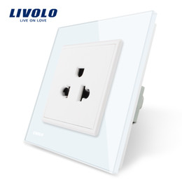 Standard Power Socket Australia - Livolo EU Standard US Power Socket, White Crystal Glass Panel, 110~250V 16A Wall Power Outlet, 80mm*80mm