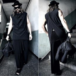 Back Hair Men Australia - S-6XL 2019 New men clothing Hair Stylist Fashion irregular High collar with back open forked vest Waistcoat plus size costumes