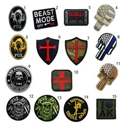 Wholesale military punisher patches for sale - Group buy VP Military D Embroidered Tactical patches Beast mode VALHALLA FOX PUNISHER ND AMENDMENT Badge patch Army armband iron on patch