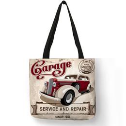 Vintage Car Prints NZ - Vintage Vehicle Bubble Car Print Fashion Tote Bag Linen Shopping Bags With Creative Print Women Fashion Handbags