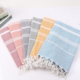 Wholesale colorful towel Turkish Hammam Peshtemal Pestemal Cotton Bath Towel Gift Spa Gym Yoga Beach towel X180cm MMA1910