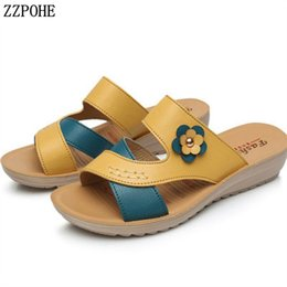 ShoeS elderly online shopping - Summer new women s shoes genuine leather wedges casual mother sandals elderly soft comfortable slippers plus size