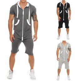 Short jumpSuit men online shopping - Summer Tracksuit Mens Jumpsuit Overalls Casual Short Sleeve Hoody Tops and Shorts Romper Mens Zipper Sportwear Overalls Size M XL