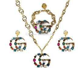 product accessories jewelry UK - New products listed letters retro vintage multicolor crystal designer brooch jewelry set fashion jewelry accessories